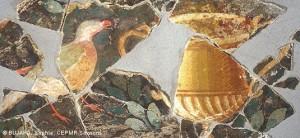 peinture murale antique représentant un oiseau et un cratère