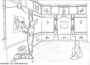 Dessin montrant un peintre en train de réaliser un tableau à l'intérieur d'une peinture murale romaine